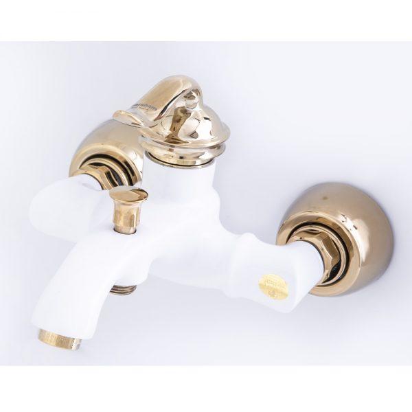 شیر دوش (حمام) بامبو سفید طلایی زرشام